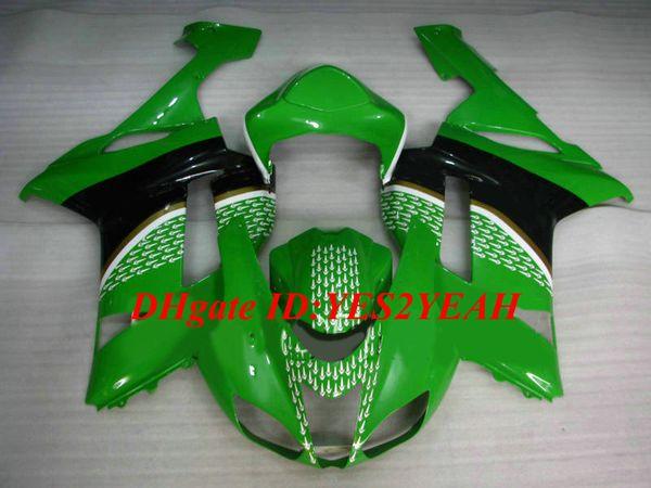 Kit de carenado de motocicleta para KAWASAKI Ninja ZX6R 636 07 08 ZX 6R 2007 2008 ABS Plástico Verde Verde Juego de carenados + Regalos KB12
