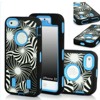 PC ibrido design tarassaco con cover in silicone 3 in1 anti shock vibrazione combo cover per cover per iPhone 5 5G 5S