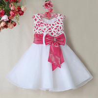 Wholesale new fashion dresses for wedding resale online - 2016 New Fashion Infant Christmas Dresses For Baby Girls White Polyesther Dresses White Pink Bows Baby Girls Wedding Kids Clothes GD31115