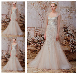 Wholesale Monique Lhuillier Lace Cap Sleeve - Mermaid Sweetheart Champagne Lace Tull Sheer Wedding Dresses Monique Lhuillier Fall 2014 Gold Zipper Bridal Gown Prom Evening Dresse