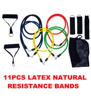 Wholesale Elastic Bands For Fitness - MESSON RESISTANCE BANDS Set 11PCS natural latex band for yoga fitness exercise elastic tube Free Shipping