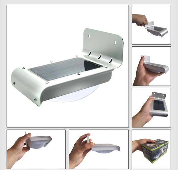 50pcs Solar Powered LED Light Body sensor Sound Sensor 16 LEDs Cool White Waterproof Outdoor led Light lamp Wall Light Garden Lamp DHL Ship