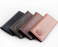 Wholesale Cheap Clutch Purses Leather - Cheap Hot sale Leather men's Long Wallet Men Pockets Card Clutch Bifold Purse Coin Holder Mix colors Wholesale