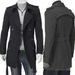 Wholesale Winter Outwear Uk - New Fashion Slim Fit Men Casual Trench Coat Mens Long Winter Coats Mens Man Wool UK Style Outwear Overcoat M L XL XXL Black