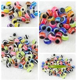 Heißer verkauf! 1000p Multicolor Evil Eye Katzenauge Streifen Runde Harz Spacer Perlen 6/8 / 10mm im Angebot