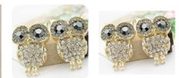Wholesale Owl Ring Retro - Vintage Retro Fashion Crystal Owl Earrings Charm Jewelry Ear Ring Cartoon Owls Diamond Stud Earrings gifts