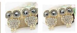 Wholesale Crystal Owl Ring - Vintage Retro Fashion Crystal Owl Earrings Charm Jewelry Ear Ring Cartoon Owls Diamond Stud Earrings gifts