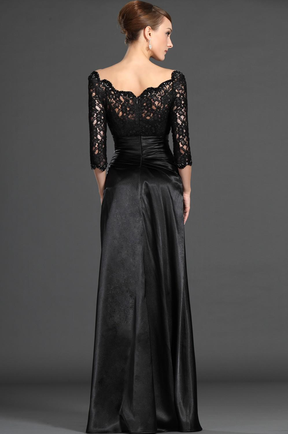 New Hot Selling Sexy Illusion Jewel Neckline 3/4 Sleeves Floor-Length Lace Evening/Mother of the Bride Dress Mommy Dresses