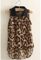 Wholesale Summer Blouses Sold Wholesale - hot selling!!5pcs lot 2013 girls leopard blouses sleeveless chiffon shirts free shipping