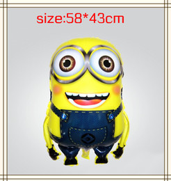 Wholesale Minions Balloons - Wholesale 2017 New design Balloons party decoration Cartoon Minion helium foil balloon inflatable ball Christmas Baby toys 10pcs