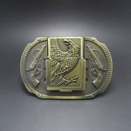 Discount eagles belt buckle - Belt Buckle (Antique Brass Eagle Guns Lighter) Free Shipping