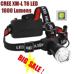 Wholesale Headlamp X Cree - A76 CREE XM-L XML T6 LED 1600 Lm Rechargeable Head light LED Head lamp CREE For 1 x 18650 or 3 X AAA Battery -Can OEM