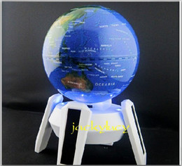 Wholesale world globe gifts - 11 cm Diameter Blue Ball Solar Rotating World Globe for Home Office Decoration Friend Birthday Gift
