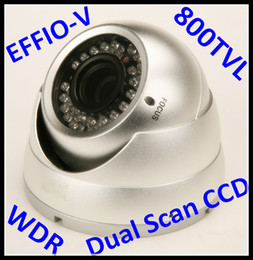 Wholesale Dual Ccd Cctv Camera - Security CCTV True WDR 800TVL Effio-V Sony SuperHAD Dual Scan CCD infrared 36 IR LED vandalproof CCD Camera with 2.8-12mm varifocal lens
