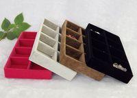 ingrosso scatole regalo dei monili di rosa del velluto-Trasporto libero velluto di ghiaccio 3 pz / lotto 8 griglie gioielli vassoio dell'organizzatore marrone nero grigio rosa velluto rosso contenitore di monili scatole regalo