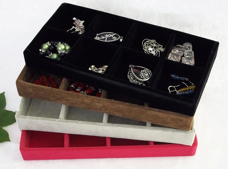 Envío gratis hielo terciopelo 3 unids / lote 8 rejillas organizador de la joyería bandeja rosa roja negro gris terciopelo marrón exhibición de la joyería caja de regalo