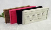 schwarze samt ring display-box großhandel-Rot grau braun schwarz samt ringschale ringe lagerung ohrring ohrstecker boxen schmuck display paket zeigen fall kleine organizer tablett