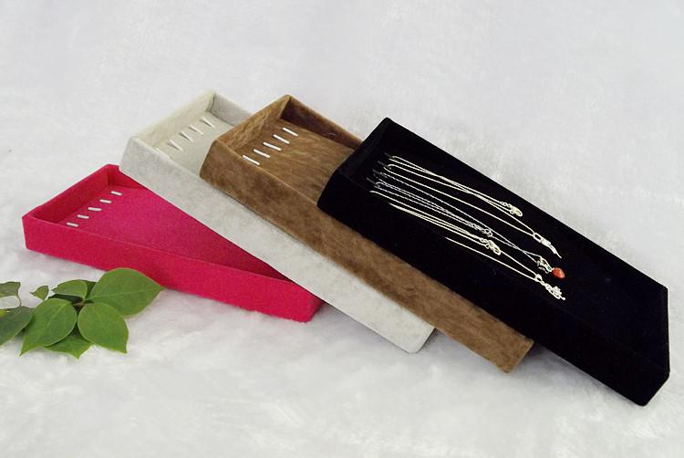 卸売高品質ベルベット小さなかわいいネックレスブレスレットボックスジュエリーディスプレイトレイホルダー収納オーガナイザーレッドグレーブラウンブラックカラー