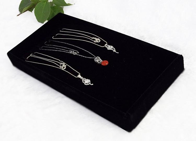 Wholesale High Quality Velvet Small Cute Necklace Bracelet Box Jewelry Display Tray Holder Storage Organizer With Red Grey Brown Black Color