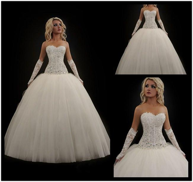 Custom 2014 Barbie Ball Gown Wedding Dresses Strapless Rhinestone ...