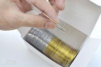 Wholesale Gold Nail Tape - Wholesale - Free Shipping 50pcs Gold Color + 50pcs Silver Color Striping Tape Metallic Yarn Line Nail Art Decora