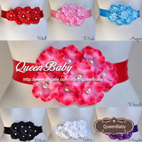 Wholesale Satin Flower Pearl Center - Satin Sash Belt Matching Cluster Hydrangea Flowers Pearl Center Sash Belt For Kids Photography Props 12PCS LOT QueenBaby Trail Order