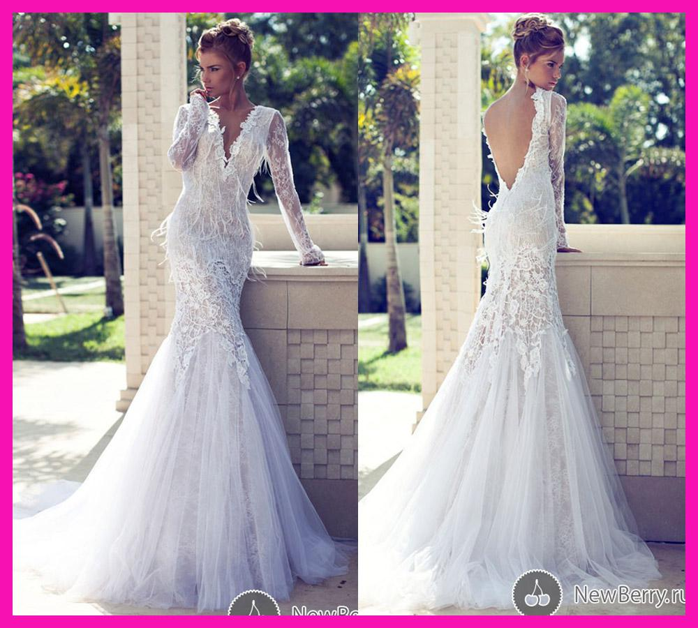 Sexy deep v neck backless lace long sleeve mermaid ostrich for Lace v neck backless wedding dress