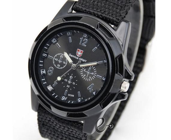 남성을위한 럭셔리 아날로그 유행 최신 유행 스포츠 군 스타일 손목 시계 스위스 제미 천 육군 시계 쿼츠 시계 4 색 캔버스 스트랩 시계