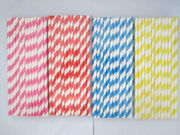 Wholesale Polka Dots Paper Straws - 1000pcs color send at randomly & 25Packing mixed Chevron patterns Striped & Polka Dot Drinking Paper Straws for party favor Free shipping