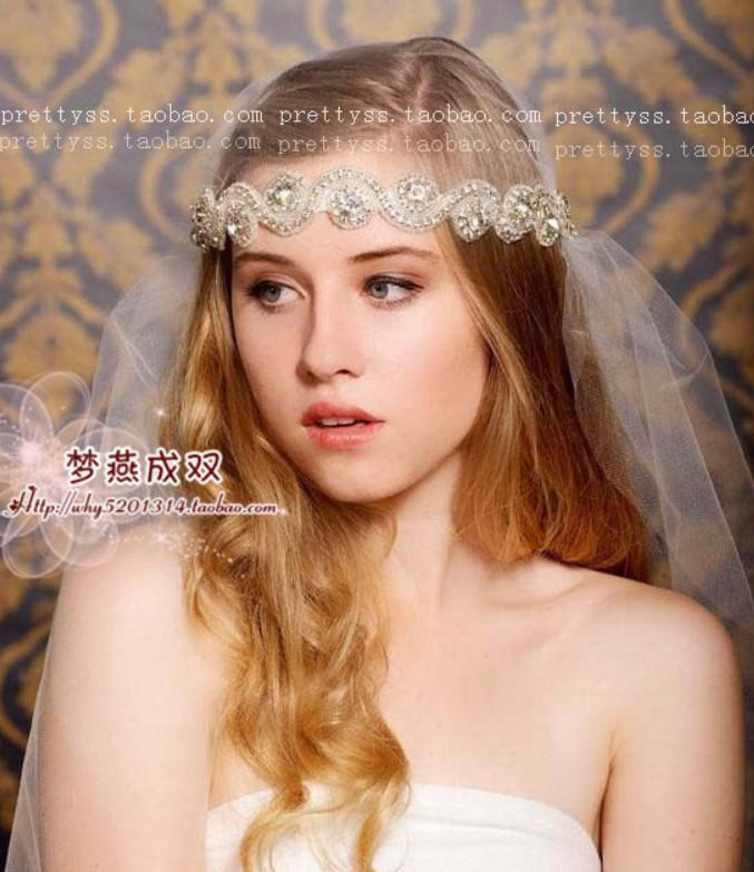 Hot Selling Crystal Tiara Headband Tulle Veils 2014 New White Ivory Bride Veil Wedding Bridal Hair Accessories Handmade
