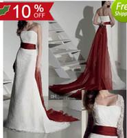 Wholesale Model Bolero Wedding Gown - Modest White Wedding Dress A Line Wine Red Organza Sash Court Train Lace Bridal Gown with Bolero RD3