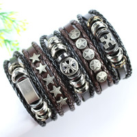 Wholesale Tribal Leather Wristbands - FL114-free shipping (5pcs lot) handmade trendy metal rock bangles,punk wristband, ethnic tribal wrap leather bracelet for men