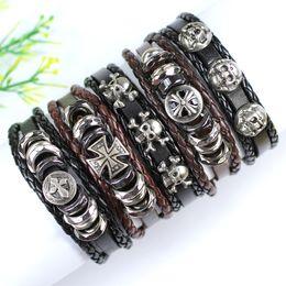 Wholesale Wristbands For Boys - FL122-free shipping (5pcs lot) new handmade punk metal bangles, ethnic tribal wristband, genius leather bracelet for men boy