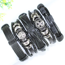 Wholesale Leather Indian Bracelets For Men - F125-free shipping (5pcs lot) handmade wholesale punk bangles, ethnic tribal Gothic wrap leather bracelet for men