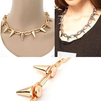 Chains spike chain necklace - S5Q Chic Gothic Punk Rock Spike Cone Studs Biker Chain Rivet Taper Choker Necklaces AAABBB