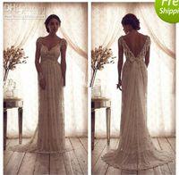 Wholesale Swarovski Beaded Wedding Dresses - 2013 elegant A Line Spaghetti strap Floor length Sweep Brush Sequin Capped V-Neckline Beaded Swarovski crystals lace wedding dresses