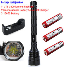 Wholesale Cree 3t6 Trustfire - TrustFire 3T6 3800 lumens flashlight 3 x CREE XM-L 5-Mode 3 * Cree LED Flashlight Torch Lamp Torch + 3* 18650 battery+1*charger