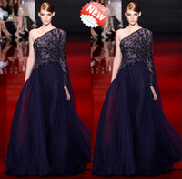 Wholesale One Shoulder Lace - One Shoulder Long Sleeves A-Line Chiffon Lace Elie Saab Crystal Prom Evening Dresses Celebrity Red Carpet Party Dress With Sash&Court Trai