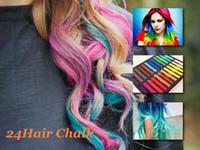 Wholesale Color Hair Dye Set - 24 Colors set Chalk Hair Temporary Chalk Hair Color Dye Pastel Chalk Bug Rub Free Shipping