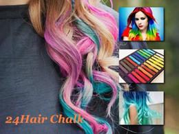 Wholesale Dye Pastel - 24 Colors set Chalk Hair Temporary Chalk Hair Color Dye Pastel Chalk Bug Rub Free Shipping
