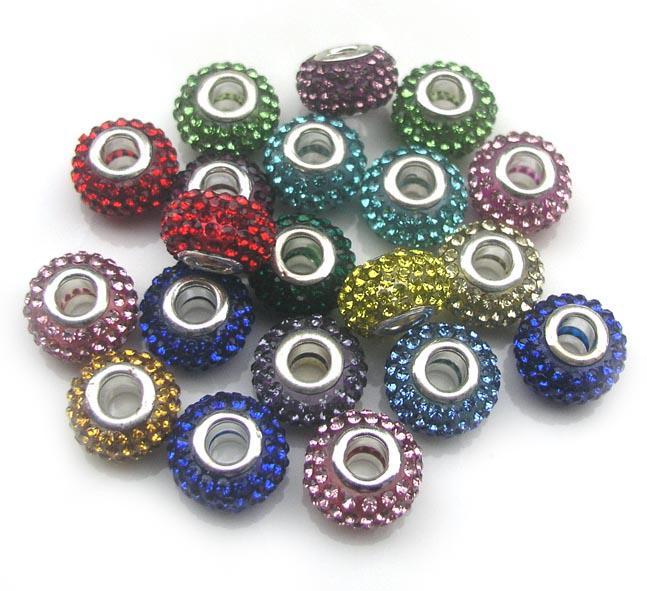 Brand New 14MM Harzrhinestone-Mehrfarbenkristallperlen Silber überzogenes Kern-großes Loch-loses Korn für europäische Armbänder Schmuck DIY
