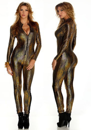 Wholesale Dance Wear Catsuit - Sexy Womans Black Gold Silver Punk Overall Catsuit Jumpsuit Club Dance Wear B7125