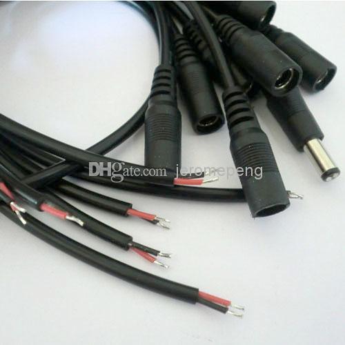 50ピースDC電源ケーブルワイヤーオスの雌コネクタ5.5 * 2.1 2.1 mm電源、単色LEDストリップライト、LEDリジッドバー
