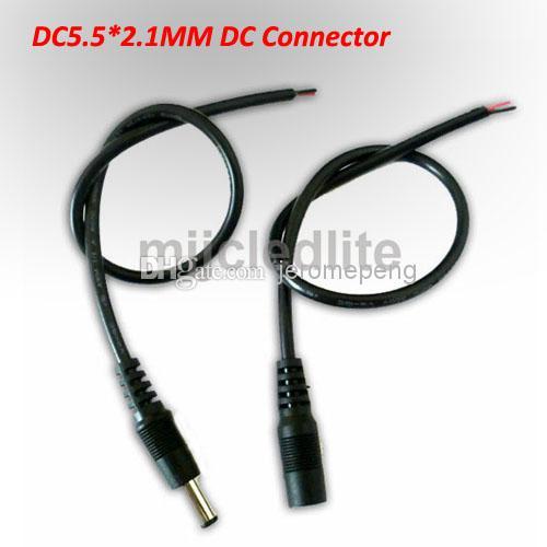 DC電源ケーブルワイヤーオスのメスコネクタ5.5 * 2.1 MM電源、単色LEDストリップライト、LEDの堅いバーに使用される2.1 mm