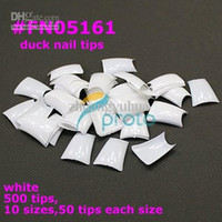 nagelspitzen füße großhandel-Großhandel - 500 Special Duck Feet Französisch Nagelspitzen halbe Abdeckung breite falsche Nägel Kunst SKU: A0032