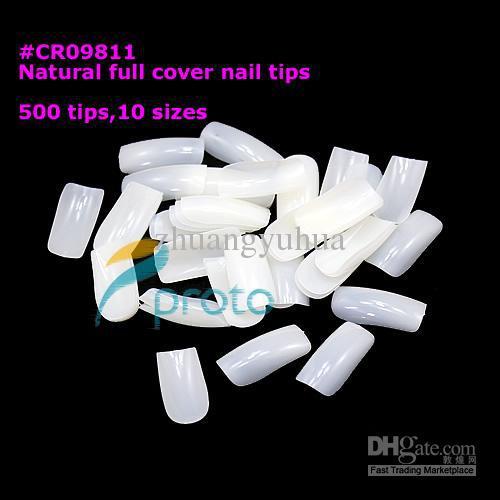 100bags/lot 500 Fullwell Natural Nails Tips Full Cover False Nail Art Acrylic Nail Tips s