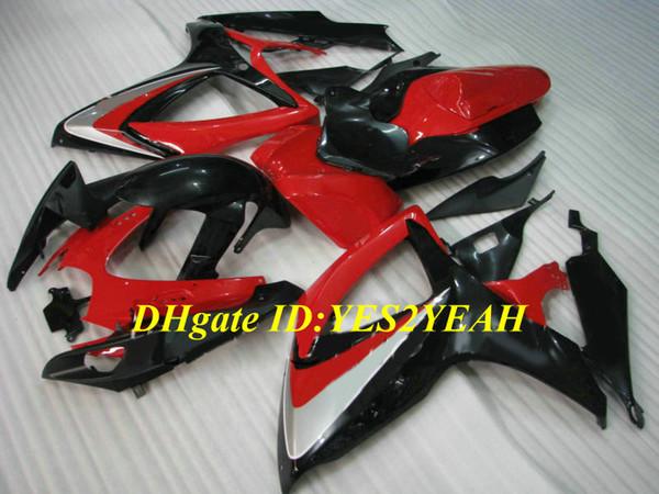 Пользовательские мотоцикл обтекатель комплект для SUZUKI GSXR600 750 K6 06 07 GSXR600 GSXR750 2006 2007 ABS горячий красный черный обтекатели набор+подарки SB15