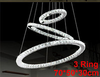Wholesale Crystal Pendant Light Steel - LED Lustre Crystal Chandelier Lighting Modern Dining Room Pendant Lamp Living Room Creative Design Pendant Light(3 ring 70*50*30 cm) PL292