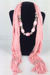 Wholesale Wholesale Polyester Resin - Special Price Pendant Scarves Fashion Jewelry Scarf Charm Scarfs Lady's Fall Winter Scarf