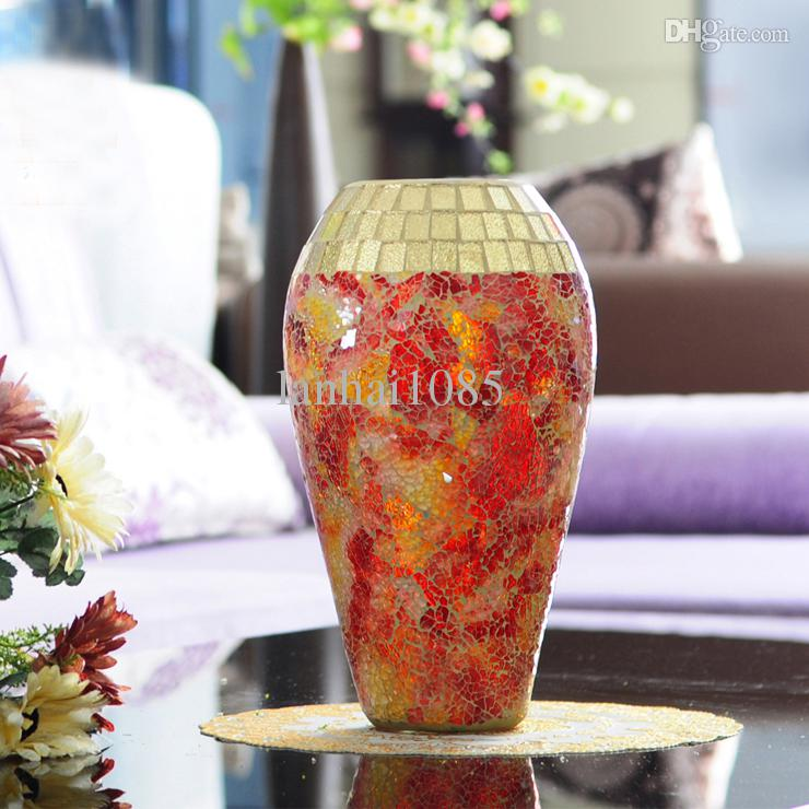 modern fashion handmade mosaic broken glass vase broken glass red yellow smd vase home clear vase with lid clear vases from lanhai1085 3428 dhgatecom